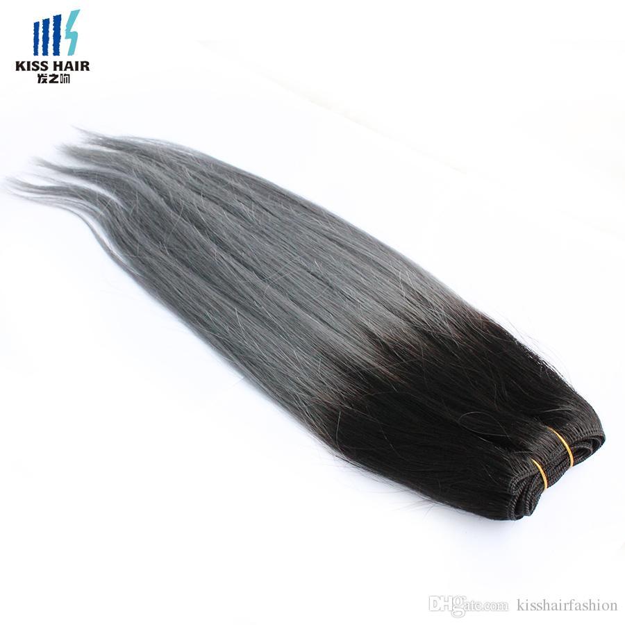 300 г Двухцветный T 1B Темно-серый Ombre Пучки человеческих волос хорошего качества Цветные Бразильские Перуанские Малайзии Индийские Прямые Волосы Наращивание
