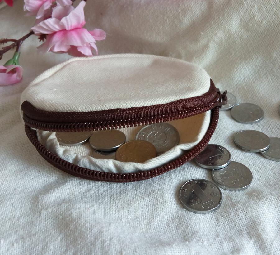 DIY white pure canvas round wallets coin bags DIY blank plain zipper small bag clutch organizer bags kids Gift travel cases children pouches