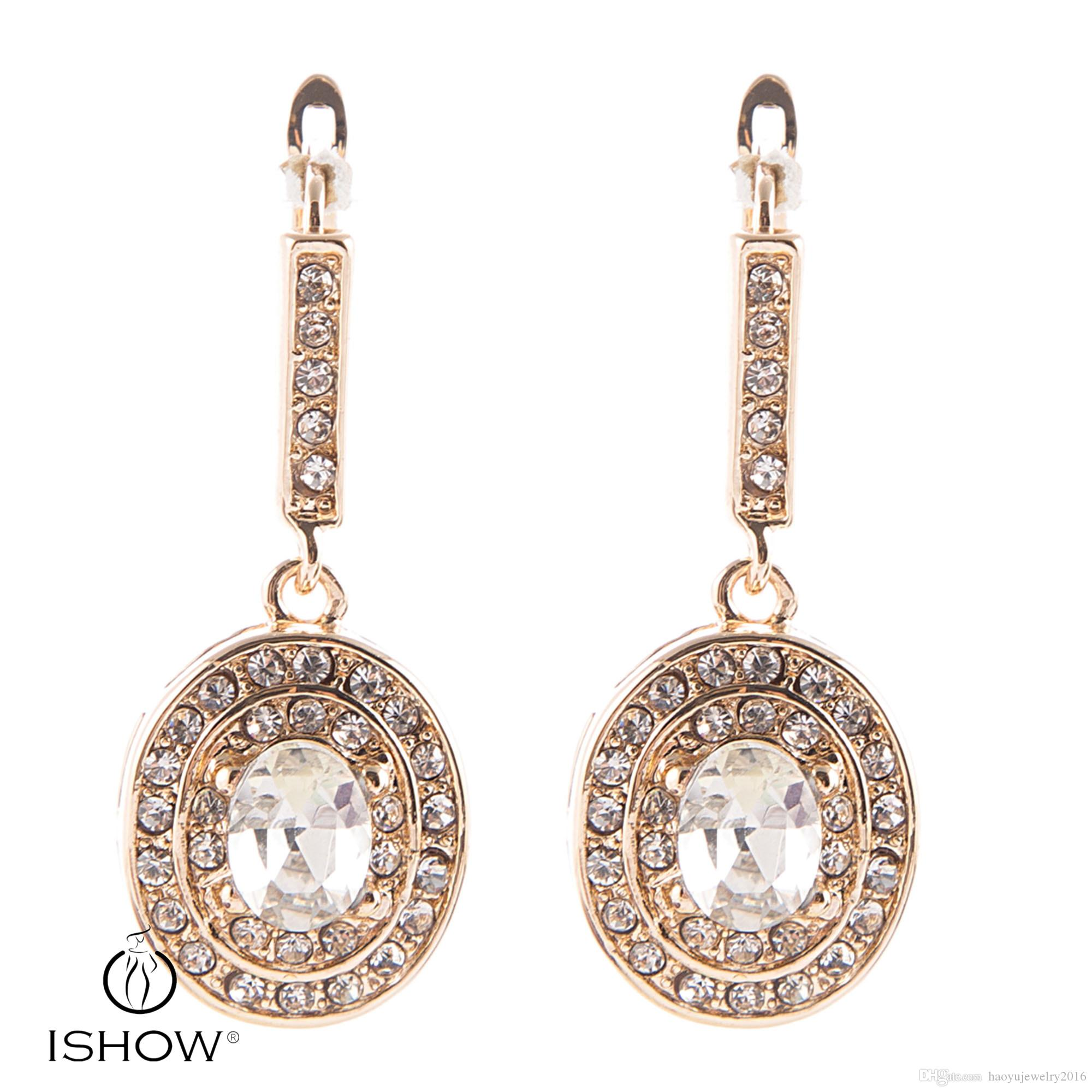 1Prwomen White Crytal Party Evening Eardrops Gold Plated Clip on