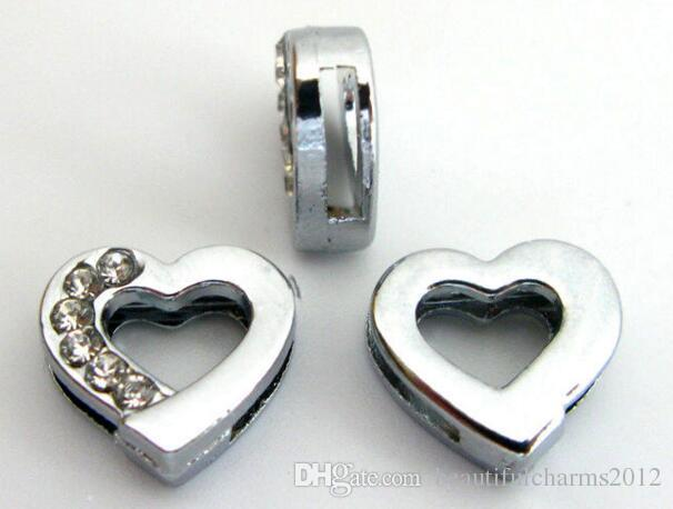 Wholesale 8mm Half rhinestones Heart Slide letters DIY Charm Accessories fit for 8mm leather wristband keychains