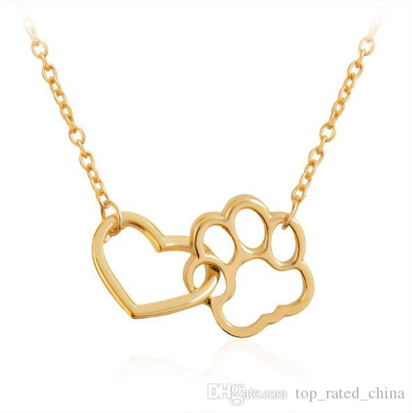 wholesale fashion silver gold plated love heart dog cat paw charm pendant necklace for women jewelry xl266 rose pendant necklace pendants and necklaces from