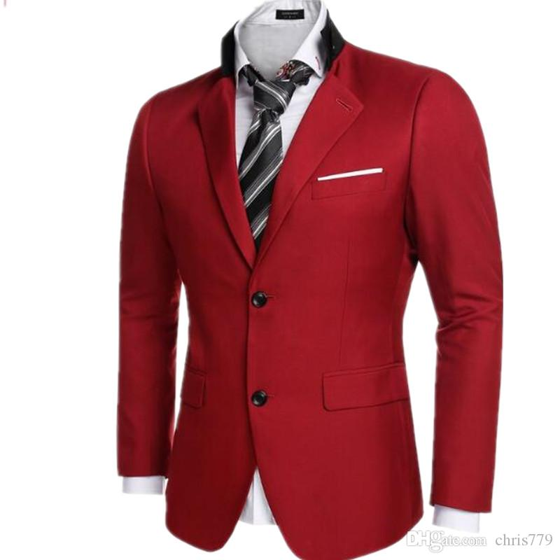 Men'S Business Jacket Casual Dinner Party Dress Coat Red Wedding ...