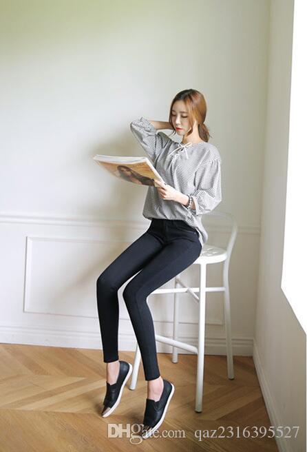 2017 Moda Kırık Delik Pantolon Kadın Orta Bel Kadın Fermuarlar Kalem Pantolon Sokak Katı Siyah Ince Bayanlar Kot