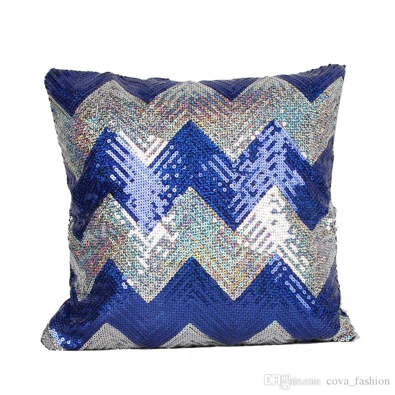 Hot Double Colors Wave pattern Sequins Pillow Case Shiny Square Sofa Car Decorations Bright Magic Pillow Cover