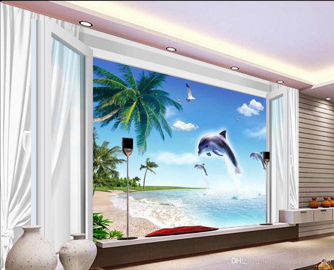 White curtain wallpaper - Custom Any Size Blue Sky White Cloud 3d Window Curtain Beach Dolphin Mural 3d Wallpaper 3d Wall Papers For Tv Backdrop