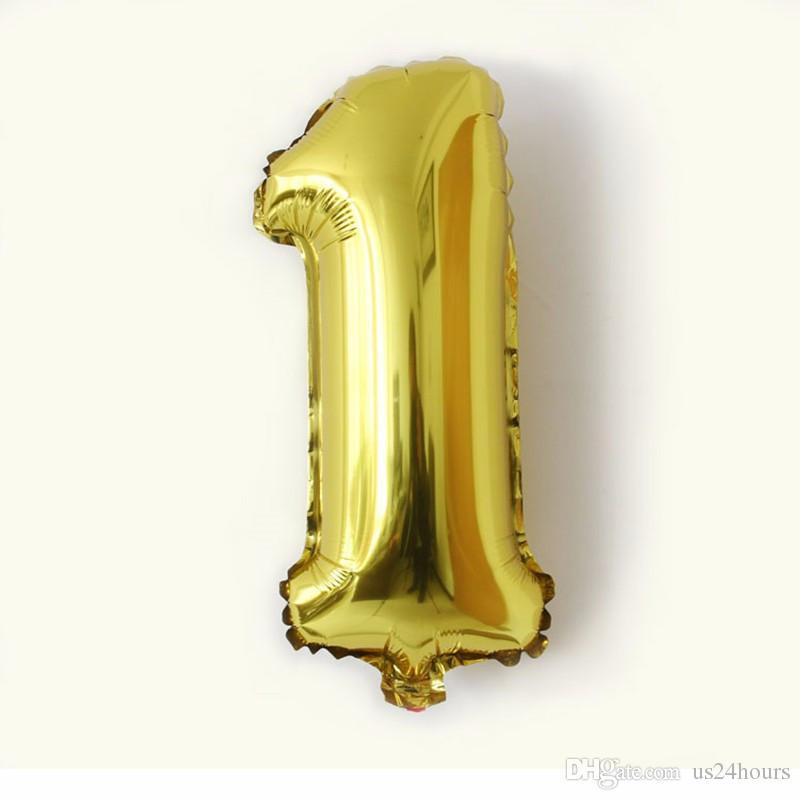 32inch ouro Número de prata folha balões dígito ar ballons feliz aniversário decoração de casamento letra balão evento partido suprimentos