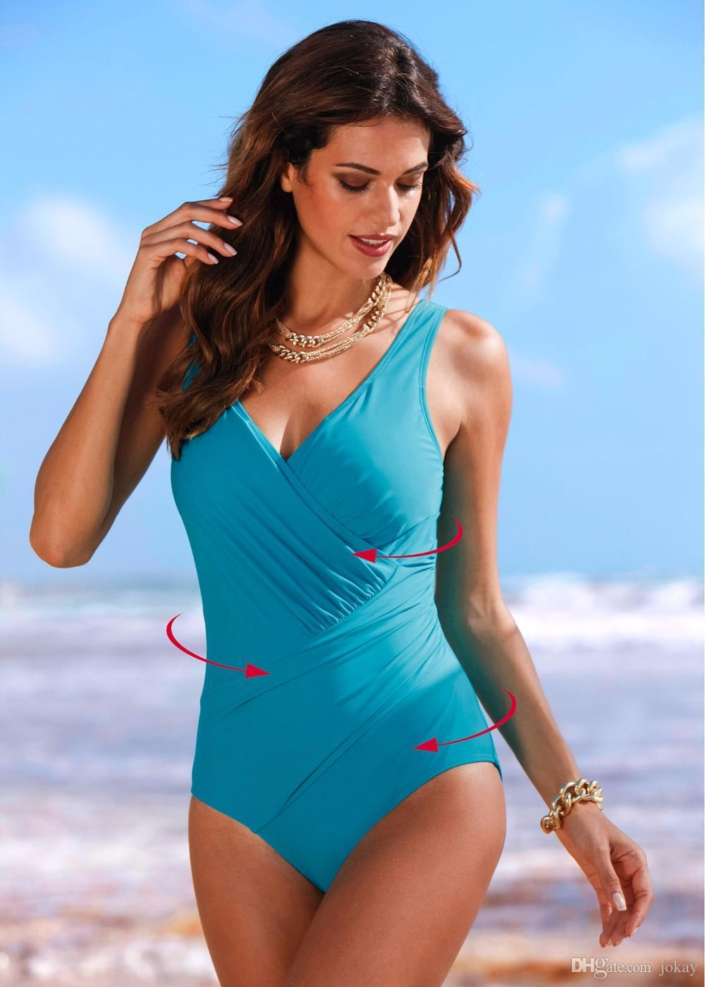 5052bdbf42 5XL 2017 New One Piece Swimsuit Women Plus Size Swimwear Retro ...