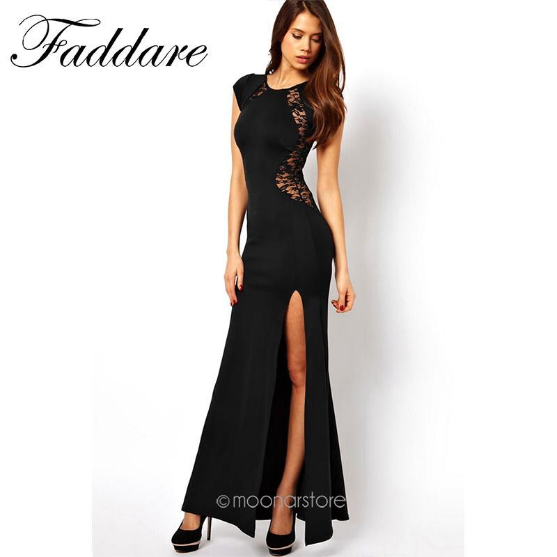 53bd172c97143 Wholesale- Sexy Women s Fashion Lace & Knitting Patchwork Back Waist Hollow  Out Solid Black Slim Side Slit Open Long Dress