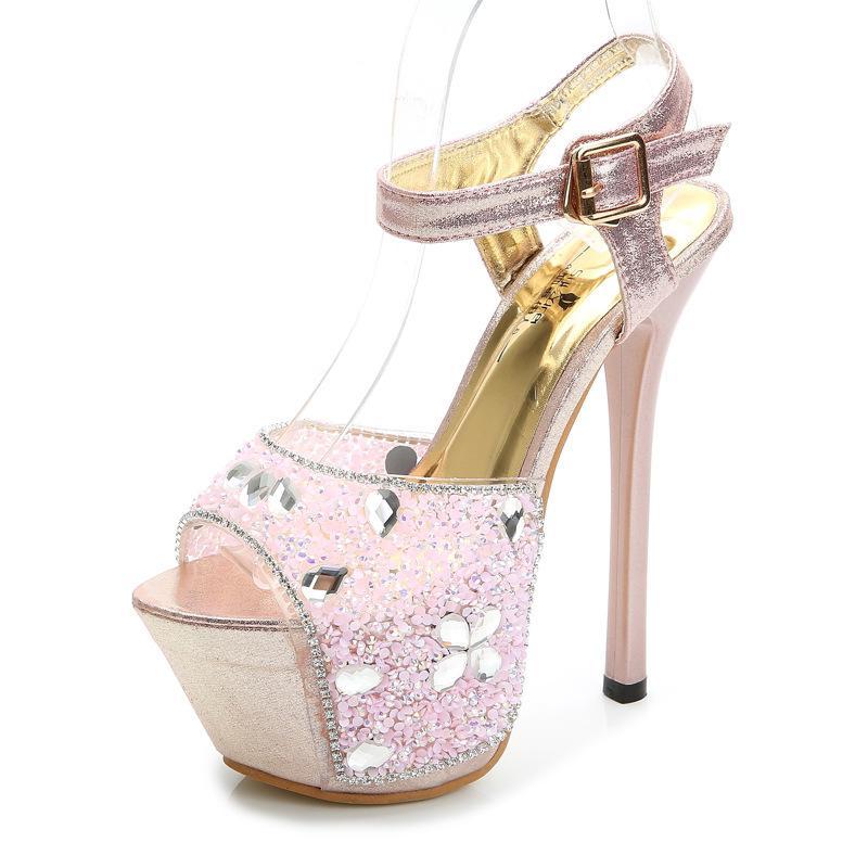 8e9c9107ca68 16CM High Heel Fashion Diamond Women Sandals Peep Toe Platform ...