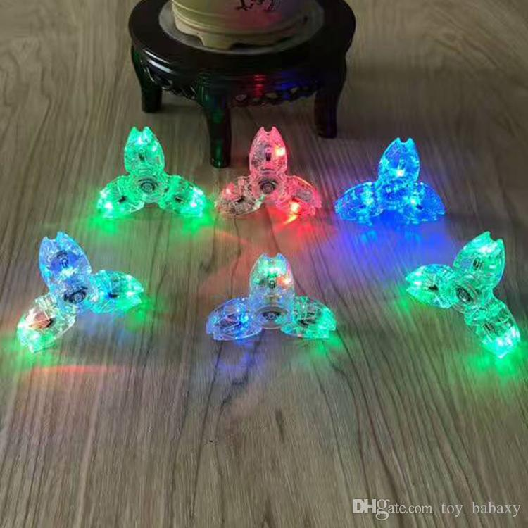 2017 Fashion LED Crystal Crab Fidget Spinner Fingertip Toys For Adults To Reduce Pressure Colorful LED Gyro With Retail Box