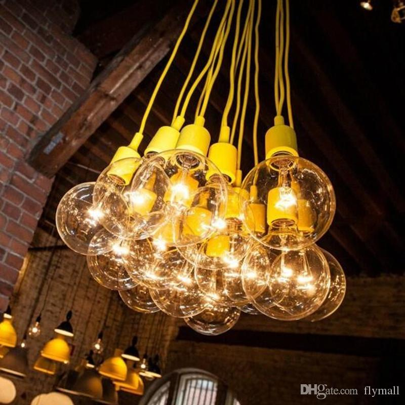 yellow pendant lighting. Muuto Pendant Light E27 Bulb Lamp Diy Bar Restaurant Silicone Rubber Ceiling With Globe Bulbs Drum Yellow Lighting T