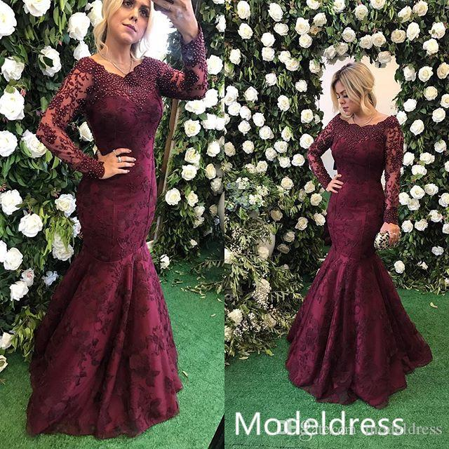 2019 Burgundy Lace Mermaid Prom Dresses Long Sleeve Jewel Beads Long Formal Evening Party Gowns Vestidos De Fiesta Special Occasion Dress
