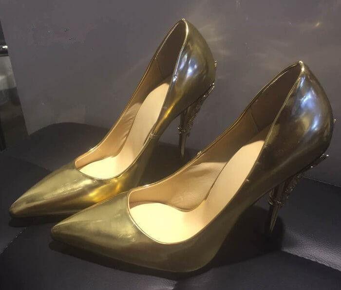 Donna Solid Eden Heel Pump Scarpe da donna super sexy da sposa Ornato in filigrana a forma di foglia di punta Haute Couture SCARPE