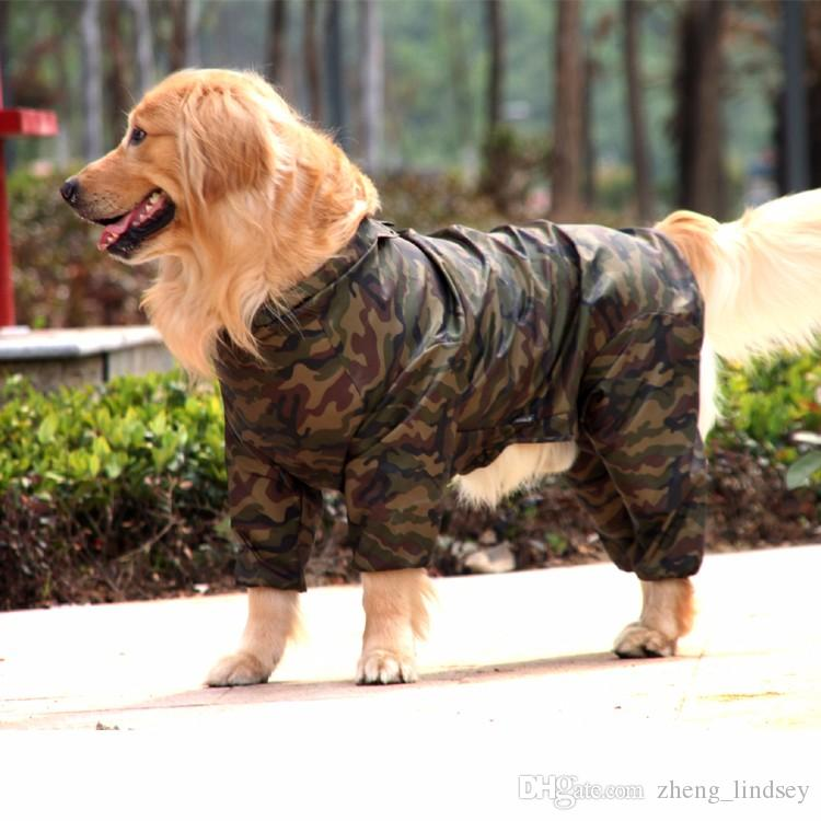 Dog Clothes Camouflage Raincoat Light Clothes Waterproof Large Dog Golden Retriever Raincoat with Hood Pet Overalls