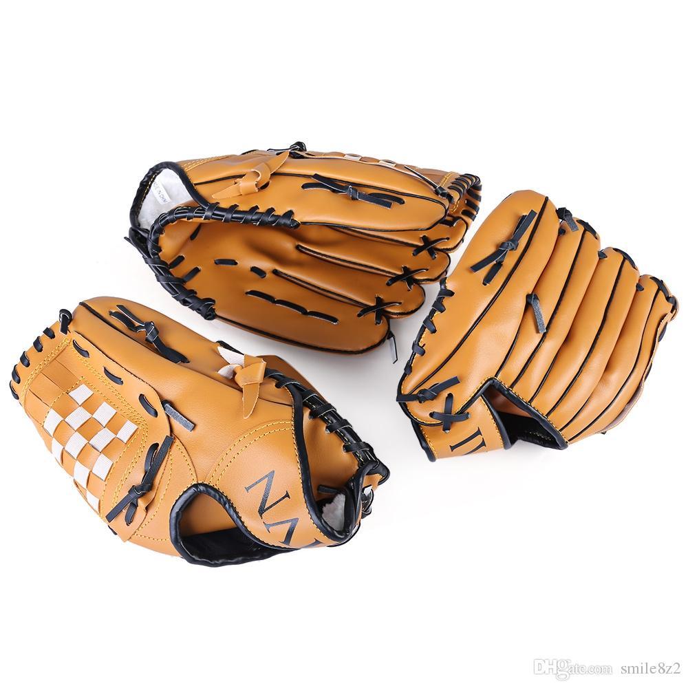 الرياضة في الهواء الطلق براون البيسبول قفاز البيسبول ممارسة المعدات حجم 10.5 / 11.5 / 12.5 اليد اليسرى للبالغين رجل امرأة التدريب + B