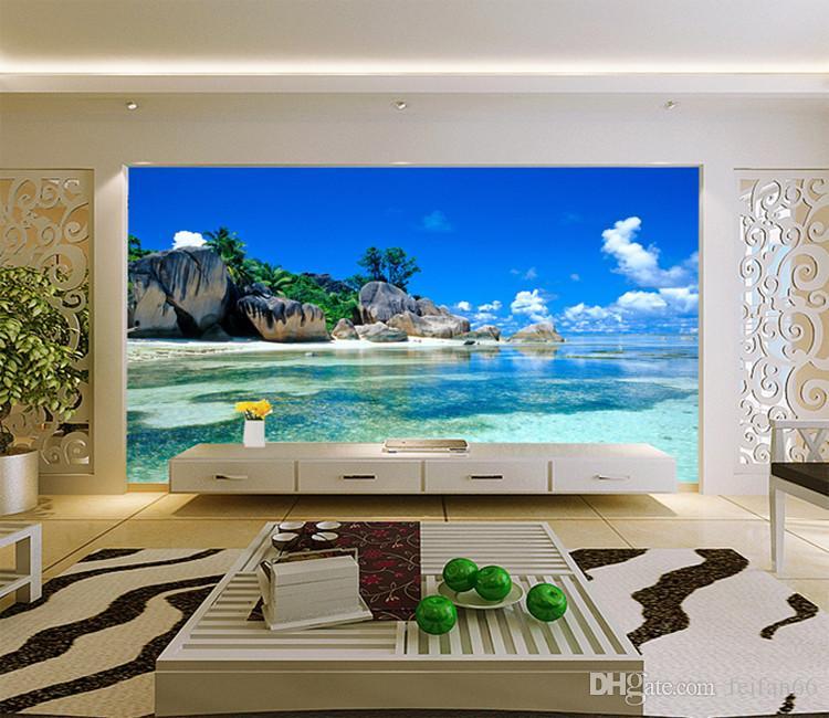 사용자 정의 3D 벽화 배경 부직포 침실 거실 소파 TV 배경 벽 종이 바다 바다 해변 3D 사진 벽지 홈 장식