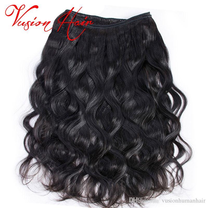 Body Wave Wavy Wavy One Piece / Pack Cheveux Humains Faisceau Naturel Noir Double Dessiné Tisse Pas Cher Extensions de Cheveux