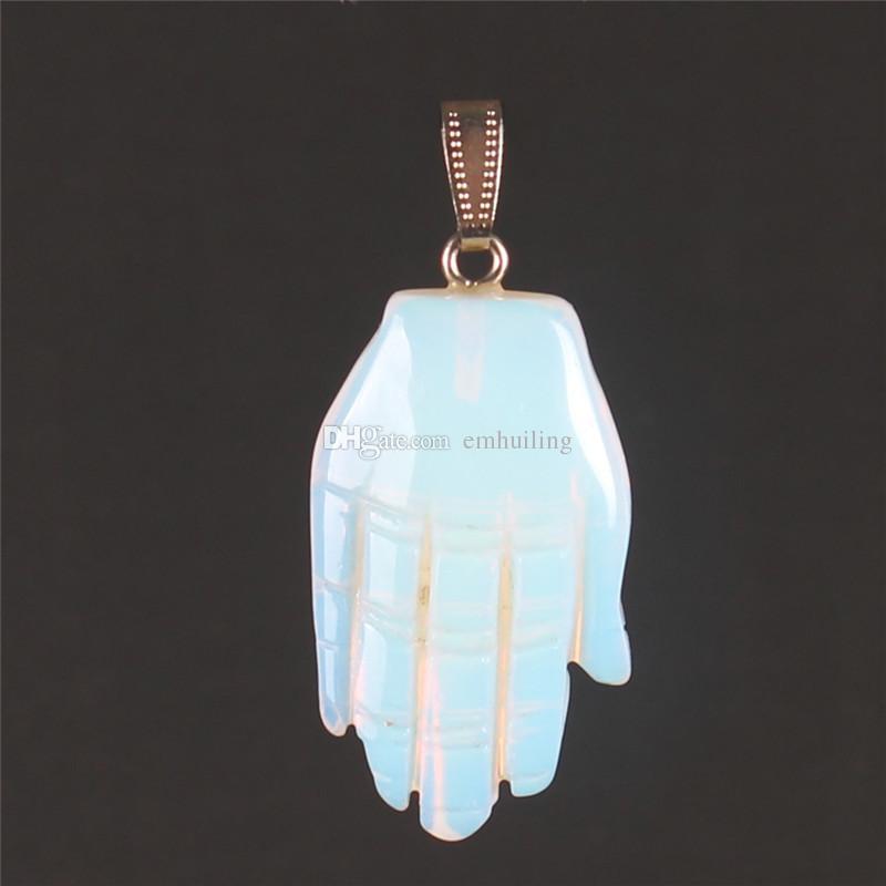 Random Multicolor Fancy Hand Shape Natural Snowflake Ossidiana Unakite Positive Energy Ciondolo di guarigione spirituale gioielli fai da te Formato 43 * 25mm