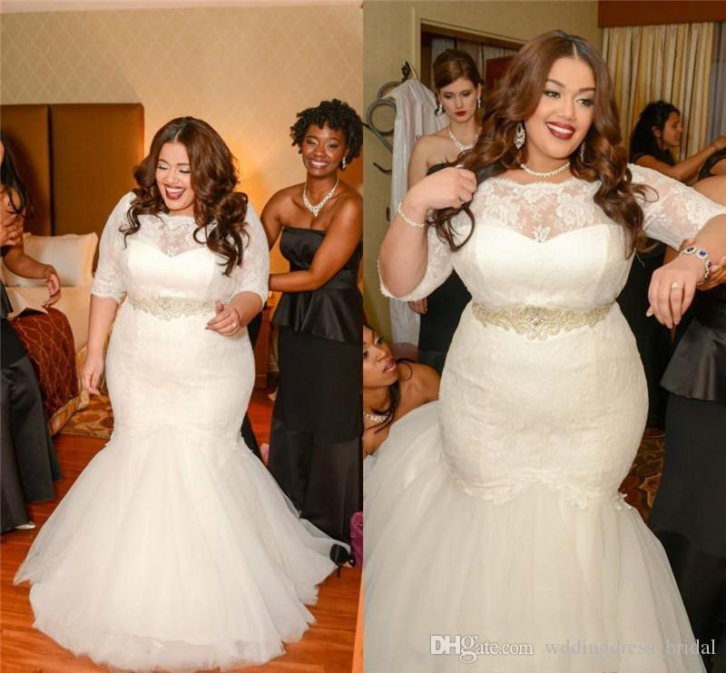 Plus Size Wedding Dresses 2017 Vintage Ivory Lace Pearls Mermaid ...