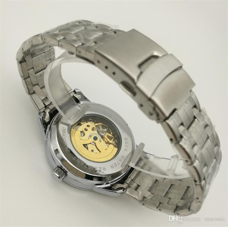Automatic Mechanical Watch Men's Stainless Steel Roman Watch China Guangzhou Fashion Brand MUONIC Hollow Luxury Copy Watch