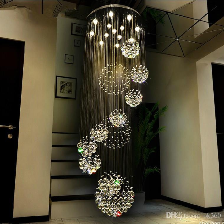 Lámpara moderna lámpara de cristal grande para el vestíbulo Escaleras Escalera Foyer Largo Espiral Lustre Lámpara de techo Escalera montada al ras Luz