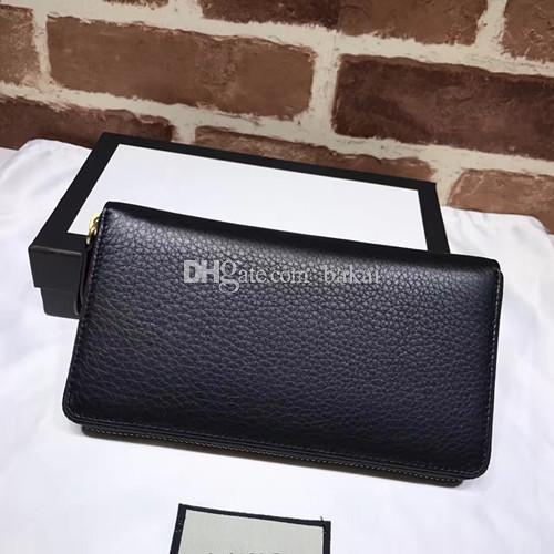 2017 Nouvelle arrivée qualité vachette en cuir hommes portefeuille marque de mode designer long sac à main le portefeuille brodé avec dragon motifs noir colo