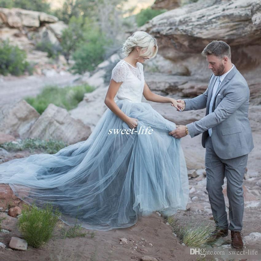 Light Blue Wedding Dresses White Lace Sheer Detachable Jacket Crop Top Short Sleeve Tulle A-line Two Toned Bridal Colored Wedding Gowns 2017