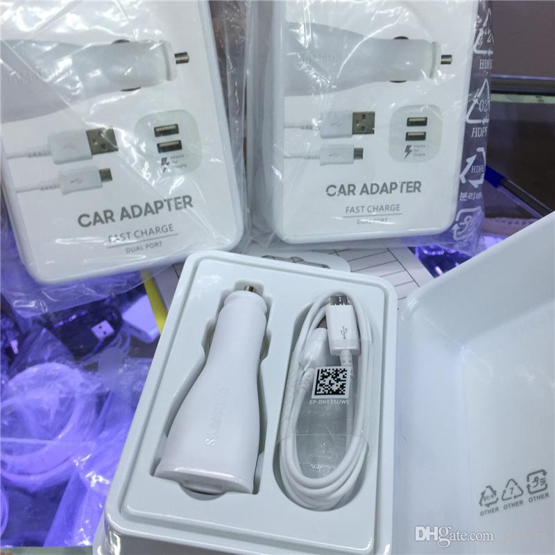 2 In 1 Dual Ports Original Type-C/Micro USB Fast Car Charger Usb Cable For Samsung Galaxy S6 S7 S8 Edge With Logo With Retail Package