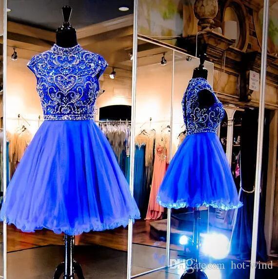 Bling Sparkly Royal Blue Mini vestidos cortos de regreso a casa 2020 Nuevo cuello alto con manga de manga de tul con cuentas Vestido de graduación de cóctel corto de tul