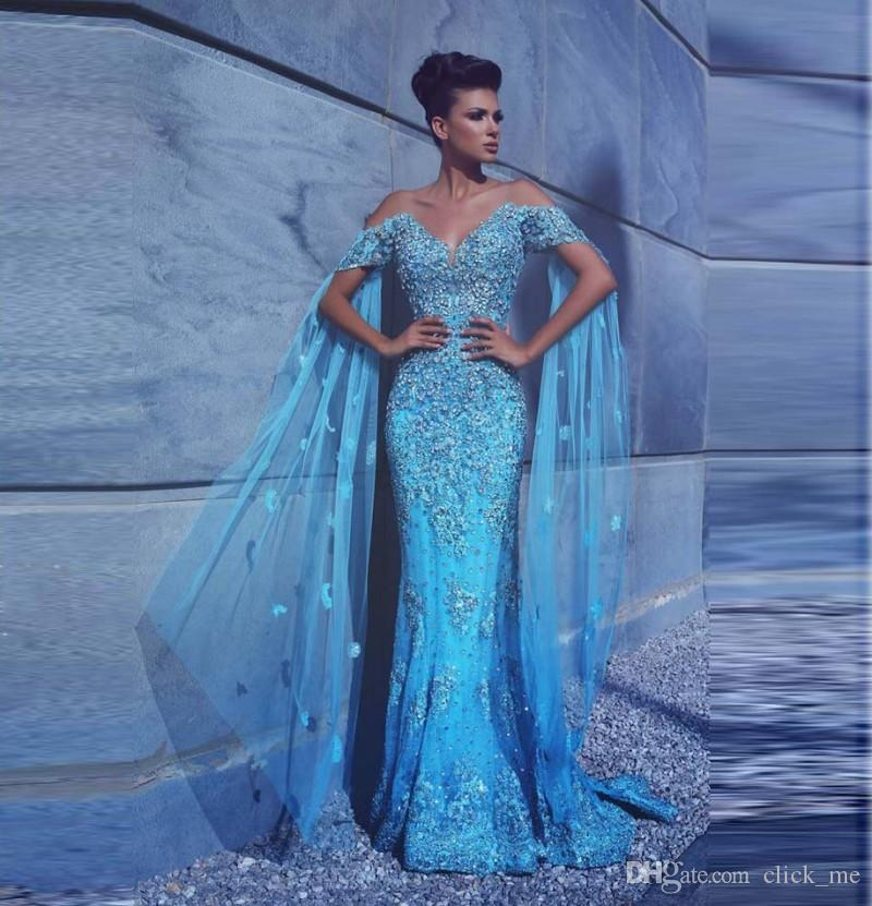 Gorgeous Blue Sexy Prom Dresses With Short Sleeves Major Beaded Appliques Mermaid Evening Gowns Arabic Special Occasion Dress Evening Wear