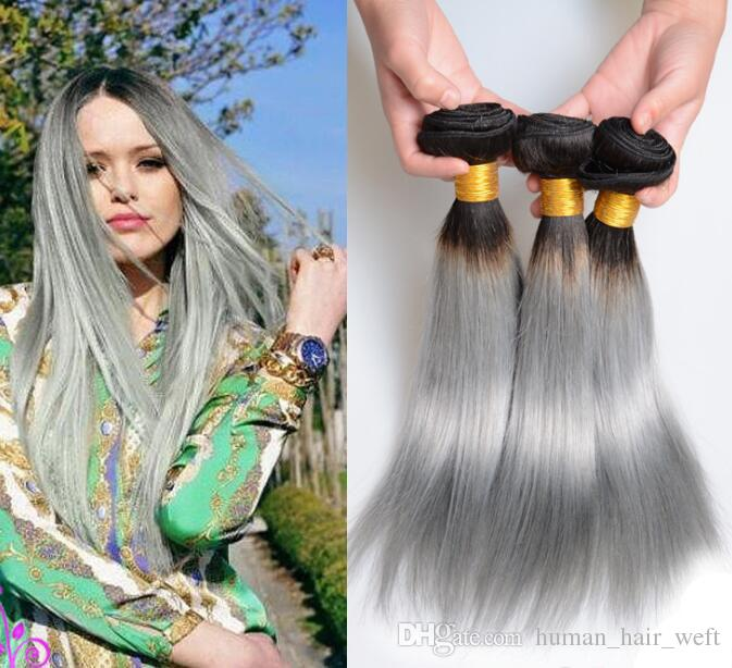 1 Bundle Ombre Human Hair With Closure Straight Grey Pink Purple