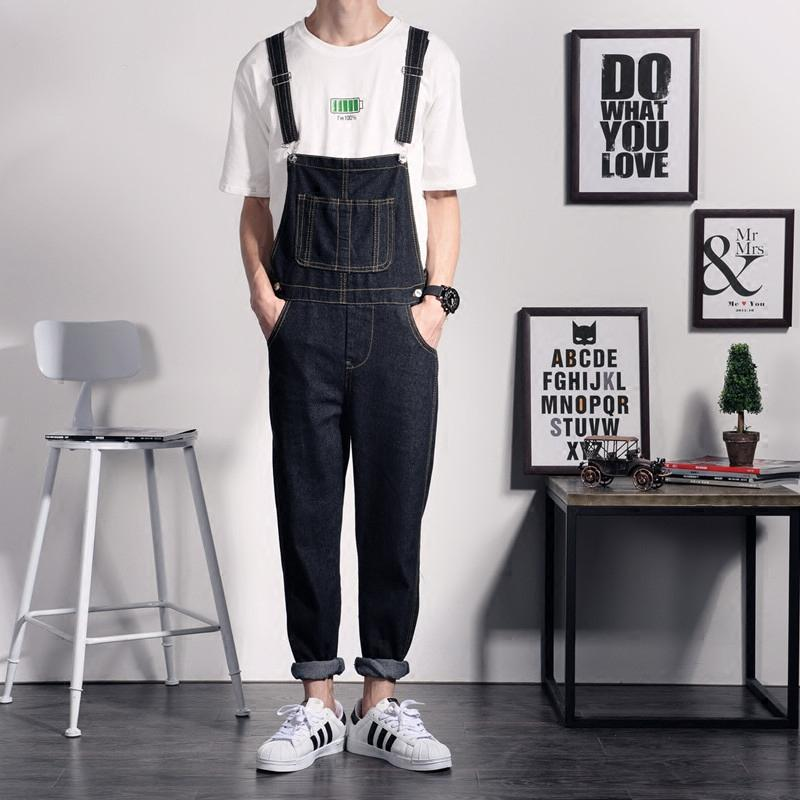 Wholesale One Piece Black Jean Jumpsuits For Men Straight Casual