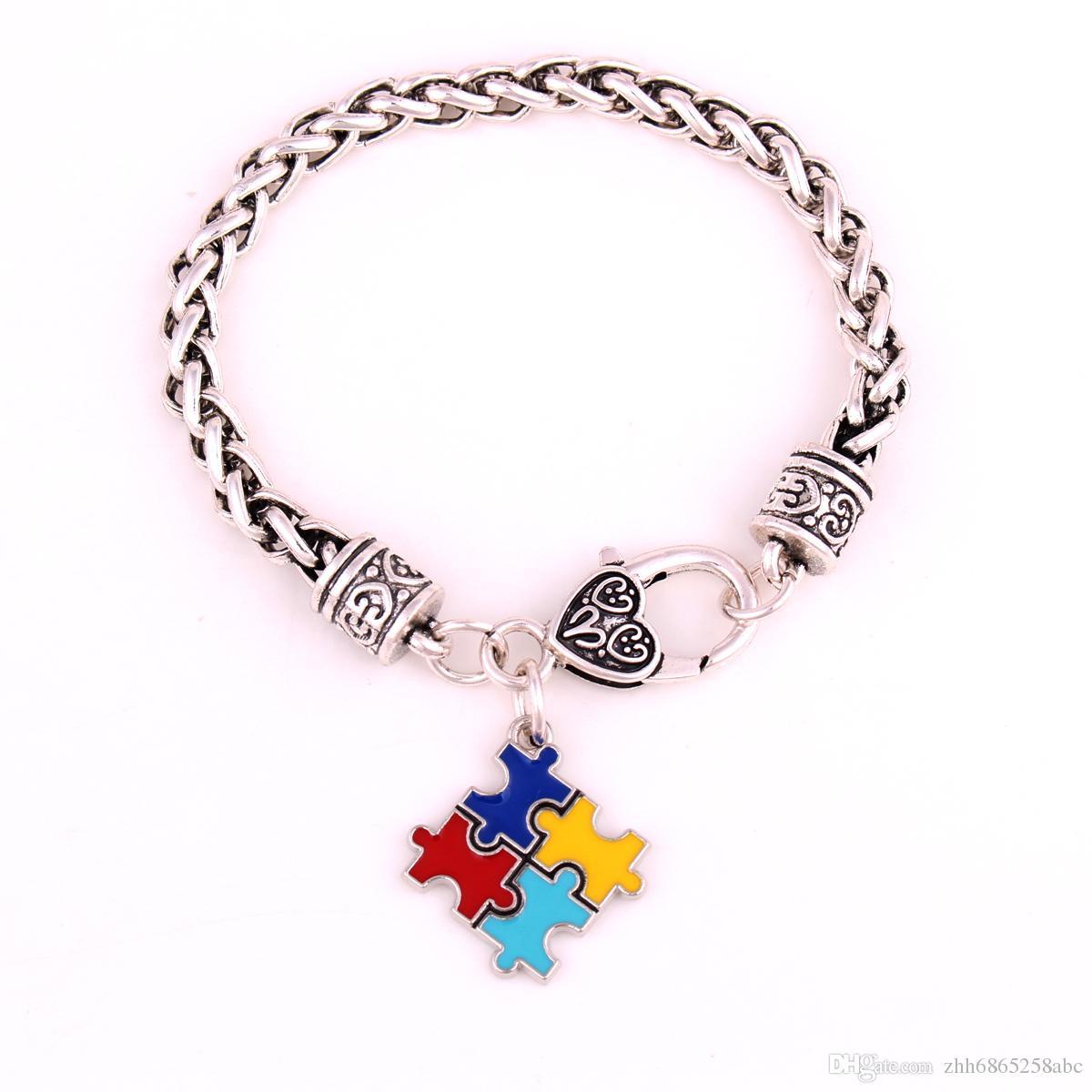 Браслеты сплава цинка эмаль аутизм осведомленности головоломки кусок аутистический браслет для 10 шт. / лот