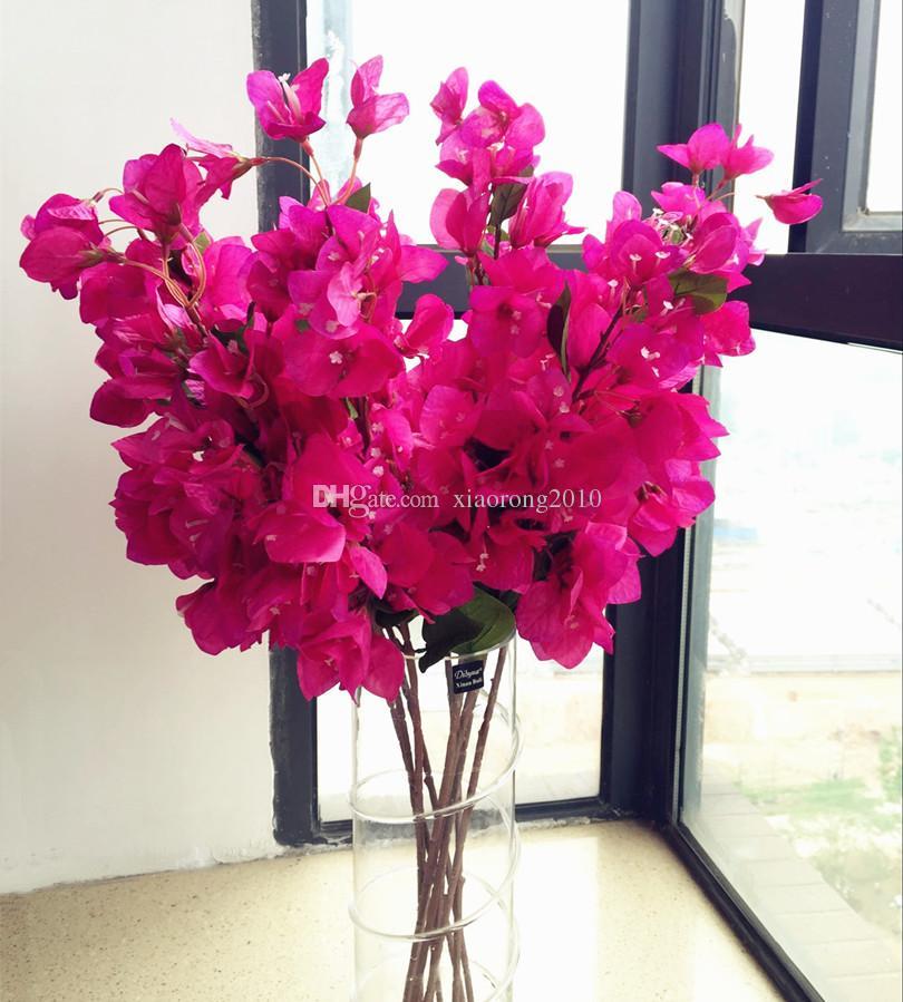 Seda Bougainvillea Glabra Artificial montada en el suelo Falsa buganvilla spectabilis para centros de boda Flores decorativas