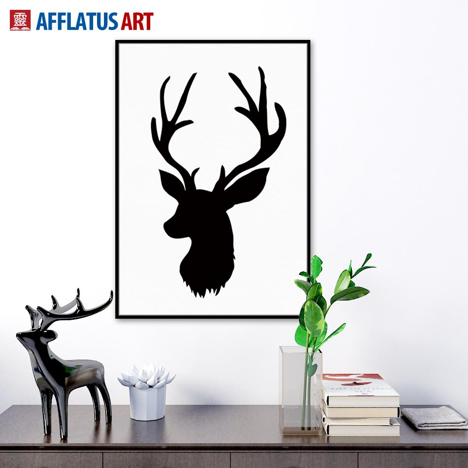 nordic vintage black white deer head animals silhouette a4 big art print poster wall picture canvas painting no framed home decor from makeme