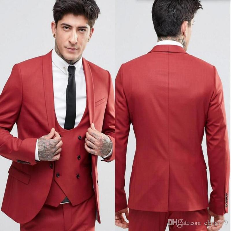 New Fashion Handsome Groom suits Tuxedos Shawl Lapel One Button Groom Suits Extremely Cool Best Man Suits Jacket+Pants+Vest