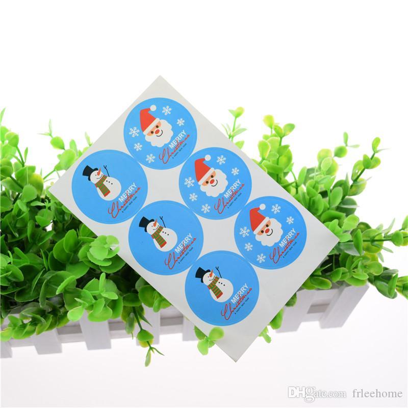 100 unids Feliz Navidad SnowmanSanta cláusula Etiqueta Engomada Azul Sello Insignia Etiquetas Sello Envoltura de la Caja de Regalo Envoltura de la Hornada decoración
