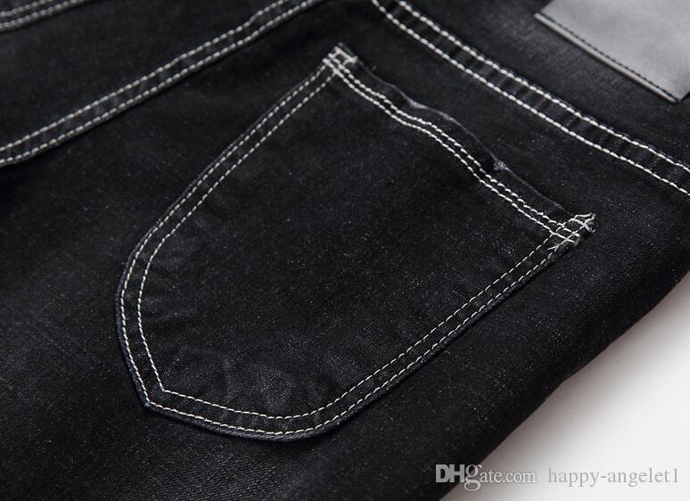 2016 Wysokiej Jakości Marka Dżinsy Moda Męska do Pop Tight Spodnie Jogger Cargo Spodnie Starszy Designer Hip Chmiel Dżinsy