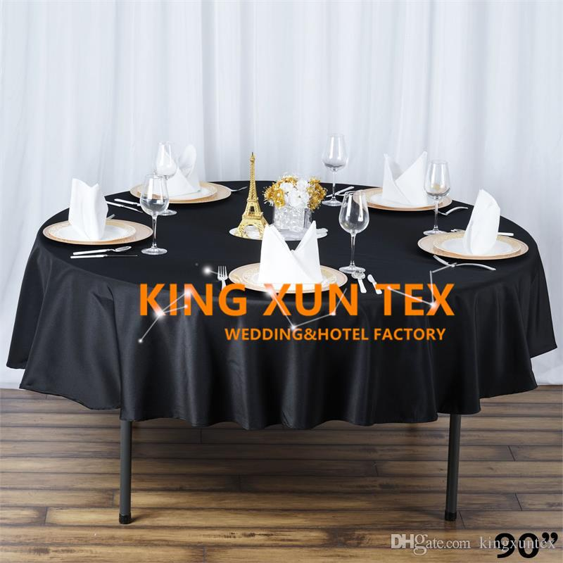 "90"" Round Plain Poly Table Cloth \ Cheap Tablecloth For Wedding And Event Decoration"