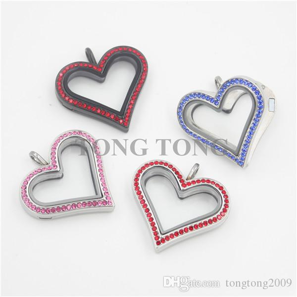 Hot sale Large Heart Magnetic Stainless Steel Czech Crystals Floating Charm Locket Photo Locket free matching plate