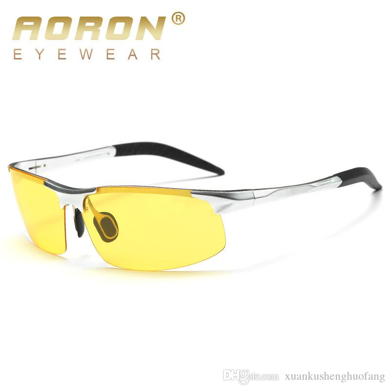 b4ea52bd1ef Aoron Brand Men Aluminum Magnes Fatigue Anti Glare Night Vision Goggles HD Sunglasses  Driving Polarized Driver Sunglasses Glasses YJ071 Heart Shaped ...