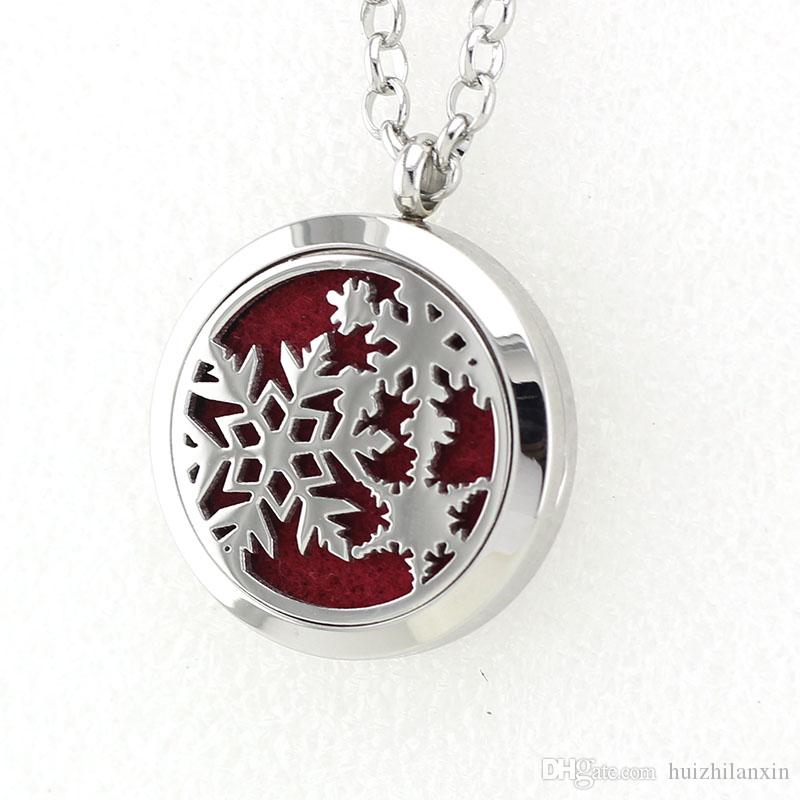Silver Magnetic Snowflake Perfume Locket Necklace Pendant 316L Stainless Steel Essential Oil Diffuser Necklace Pendant With Pad Chain
