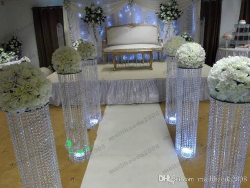 Pasarelas de cristal del pasillo de la boda CALIENTE Pasarela de la boda Pieza central para la decoración de la boda de Navidad del partido H120CM ENVÍO GRATIS MYY