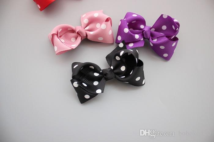 3.2'' Grosgrain Ribbon Dots Bows WITHOUT clip DIY kids hair clips for girl child accessories