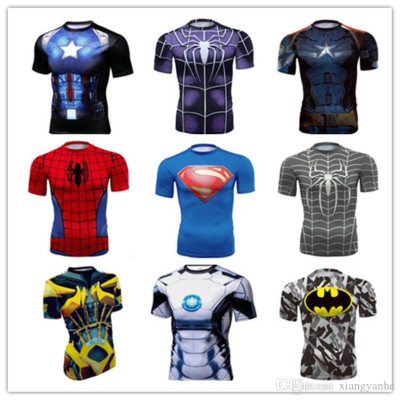 2017T shirts Compression Shirt Crossfit T-shirt Men Captain America Short Sleeve 3D-shirt Fitness Camiseta Brand Clothing Gym Clothing