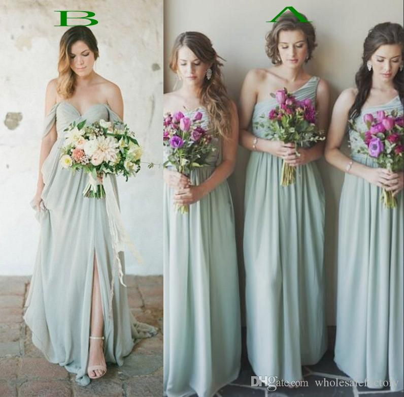 2017 Flowing Sage Green Chiffon Bridesmaid Dresses A Line Sleeveless ...