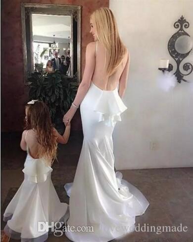 Abiti da sera da ballo sexy senza schienale a sirena bianca 2017 Abiti da cerimonia formale madre e figlia Robe De Soiree