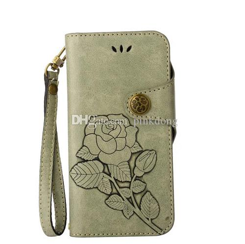 hand strap retro vintage gorgeous rose wallet card flip leather case cover skin for Samsung Galaxy Note4 Note5