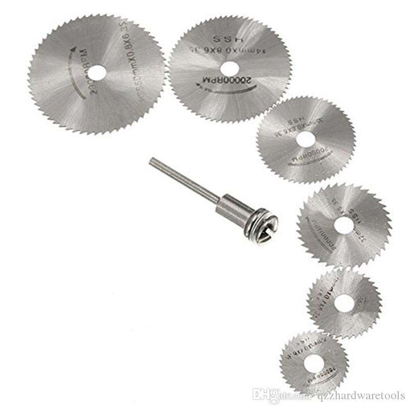 7pcs Circular Saw Blades HSS Rotary Tools Cutting Discs Set Wood Saw Blade Drill Mandrel Cutoff Cutter Saw Blades Wood