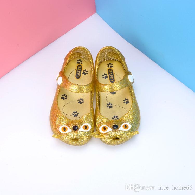 Mini Melissa Shoes Summer Girls Cat Sandals Clogs Cute Baby Shoes Crystal Fashion Sandals Children Baotou Buckles Kids Beach Shoes